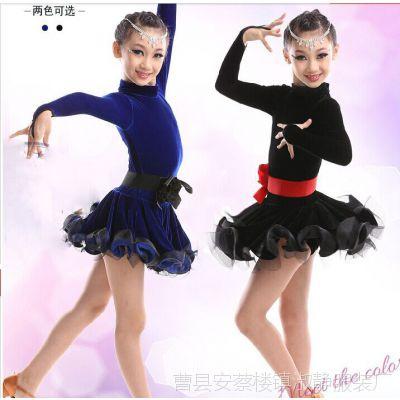 新款秋冬季拉丁舞服装女童长袖儿童舞蹈衣服演出服练功服舞裙