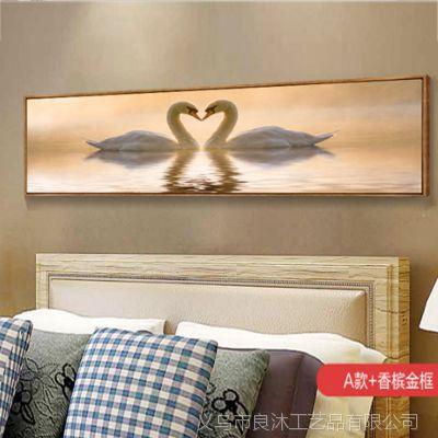 酒店卧室床头挂画现代装饰画新中式风简约客厅沙发背景墙风景壁画