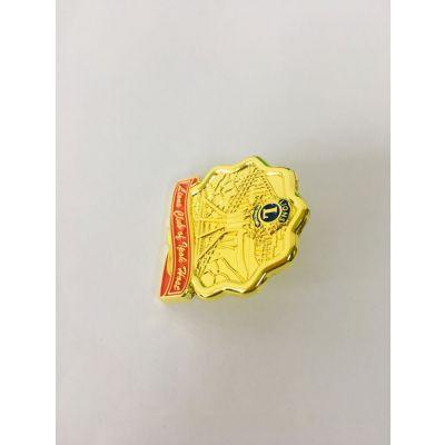烤漆狮子会徽章,五金襟标生产,找西安定制金属胸标厂