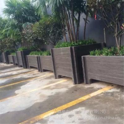 厂家直销 优质仿木不变形花箱 街道装饰绿化专用水泥仿木种植花桶