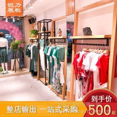 优质服装店实木展示架新版复古女装展柜定做