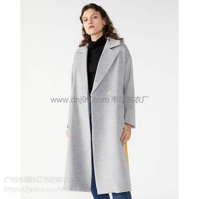 外贸服装厂欧美女装翻领撞色中长款毛呢休闲外套