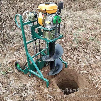 手推式地钻挖坑种植机 河南地钻打洞机图片 启航拖拉机刨坑机