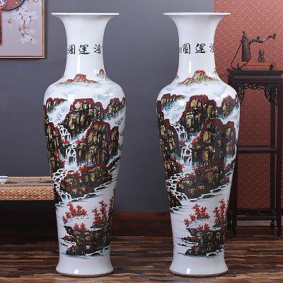 酒店门厅落地大花瓶摆件 青花手绘大花瓶 2.8米陶瓷大花瓶