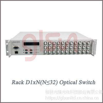 glsun光开关 光开关厂家 桂林光隆D1xN(N≤32)机架光开关 光选路器 选光器
