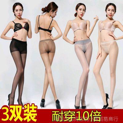 3双防勾丝连裤袜子美腿春秋超薄款肉色黑丝袜女夏季连体长筒打底