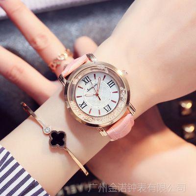 韩版时尚潮流学生手表批发正品女士时装表石英表流沙水钻女表定制