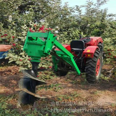 拖拉机植树挖坑机 硬土质冻土大马力地钻机 启航刨坑打洞机价格