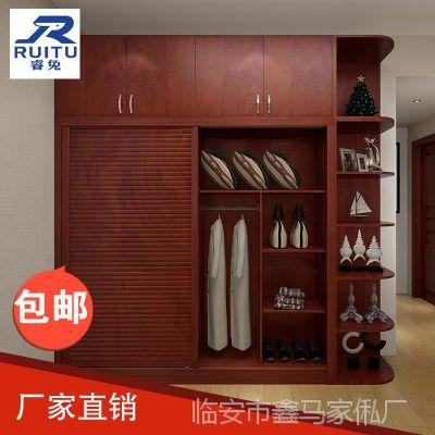 衣柜推拉门简约滑门衣柜简约木质两门三门衣帽间多功能移门衣柜
