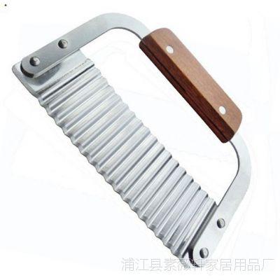 不锈钢木柄波浪刀薯条切 波纹刀切面刀 创意土豆切条器