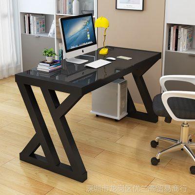 简约现代台式电脑桌钢化玻璃家用一体机办公桌桌子书桌烤漆写字台