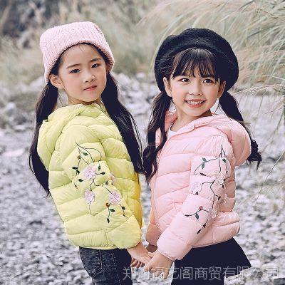 厂家直销2018冬季新款女童绣花短款中小童宝宝轻薄款儿童羽绒棉服