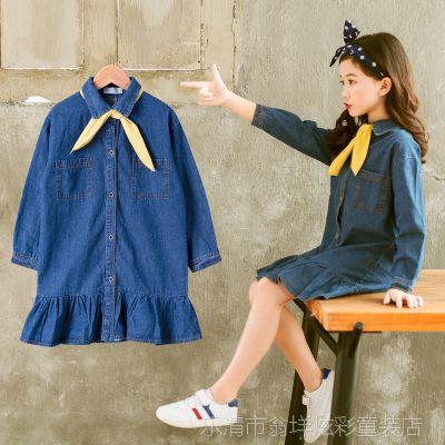 女童连衣裙2018新款春秋装韩版时尚儿童牛仔长袖洋气裙子一件代发