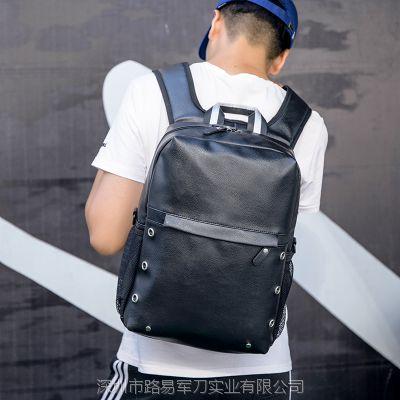 外贸原单新潮款净面休闲商务男士PU双肩背包电脑包可批量定制logo
