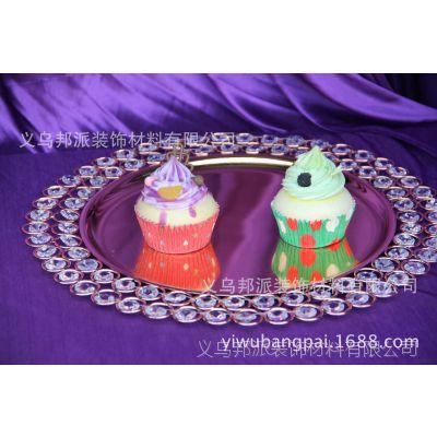 柔软时光 欧式铁艺婚庆水果盘摆件 玻璃创意家居饰品茶几蛋糕盘
