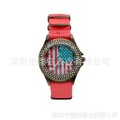 时尚美国国旗UP面时装表 镶钻合金手表 男女士通用尼龙带手表石英