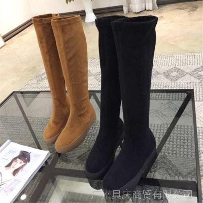欧洲站2018秋冬新款小辣椒同款5050内增高平底显瘦弹力高筒女靴子