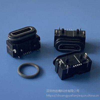 MICRO贴板防水母座 5P迈克防水插座带定位柱插板+贴板防水插座 IP67防水等级 带防水圈