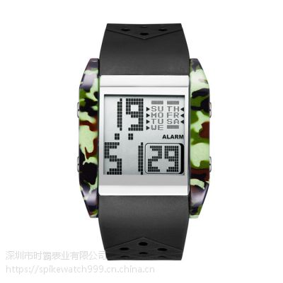 厂家批发SPIKE时尚新款多功能迷彩防水数字显示电子手表