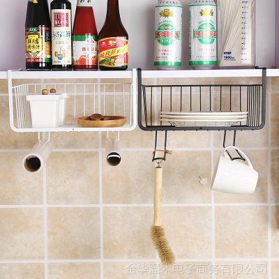 P橱柜置物架厨房铁艺多层整理收纳架免打孔衣柜收纳分层隔层储物