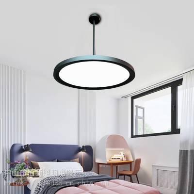 餐厅吧台吊线吊杆灯LED北欧风简约现代单头圆形轻奢卧室灯升降灯