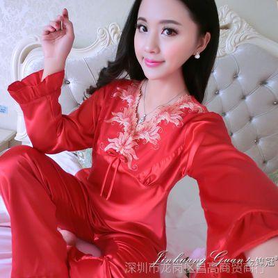 睡衣女人夏季长袖休闲家居服女丝绸两件套装红色春秋季真丝蕾丝边