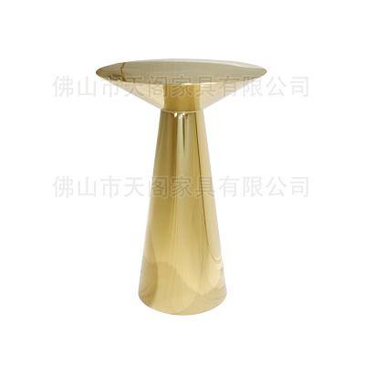 现代拉丝黄铜镀金不锈钢吧台 简约锥形底座圆酒吧桌