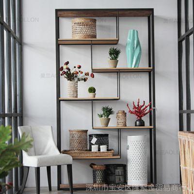 LOFT风格复古美式实木铁艺书架做旧置物架隔板架子落地陈列架家具