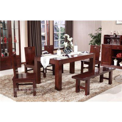 厂家直销木言木语新款中式实木餐桌椅