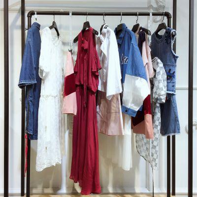 珞炫19夏装女装折扣批发广州品牌女装库存尾货走份简约女装连衣裙半身裙