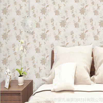 新款无缝墙布高端淡雅提花壁布家装工装墙纸欧美田园风背景布壁纸图片