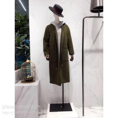 品牌羊绒大衣折扣女装尾货 高端时尚女装专柜货源走份批发