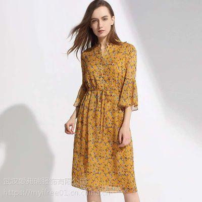 精品女装品牌加盟柯妮丝麗春季新款中长款连衣裙上衣