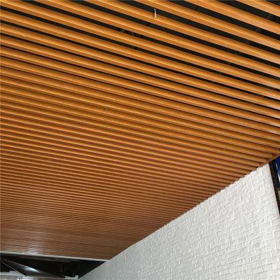 宁夏长条铝天花 木纹铝格栅 木纹铝方通吊顶