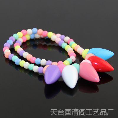 韩版儿童彩色珠子项链 公主宝宝春天色果冻珠 手工DIY毛衣链