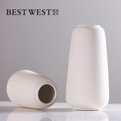 简约欧式手工拉丝素烧出白色陶瓷花瓶 仿真花干花插花花器摆件