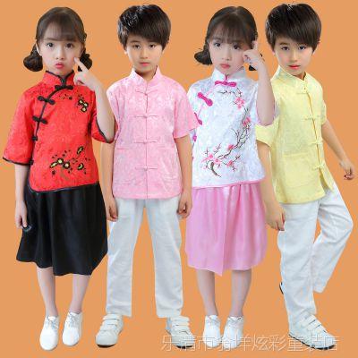 儿童汉服男女童装唐装表演服夏季幼儿古装复古民族风宝宝中式衣服