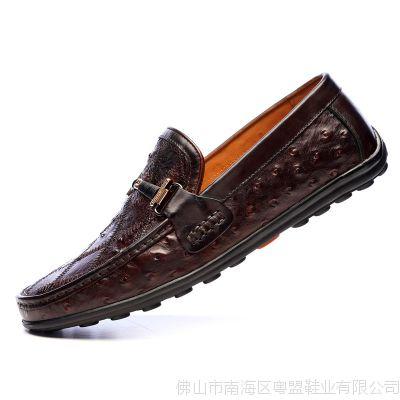 男士豆豆鞋真鸵鸟皮拼花休闲鞋英伦风一脚蹬懒人皮鞋男士驾车鞋