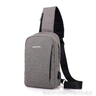 男士帆布涤纶胸包USB接口充电背包商务休闲潮旅行防泼水大容量防
