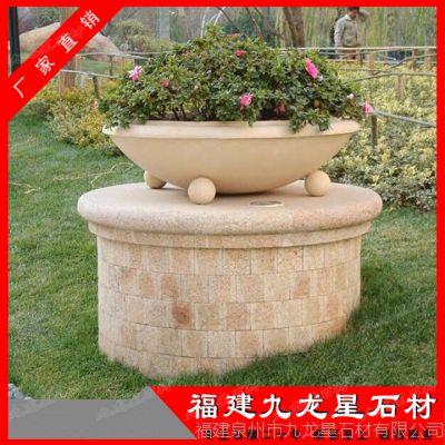 石雕花盆 埃及米黄花钵 欧式花盆雕刻