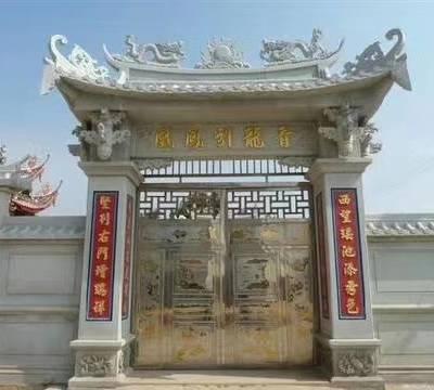宁波村口花岗岩石雕牌坊