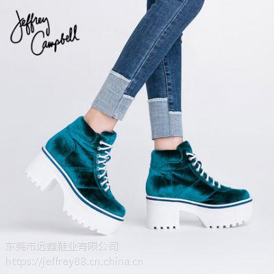 Jeffrey Campbell蓝色绒面系带厚底高跟防水台短靴女2018秋冬新品