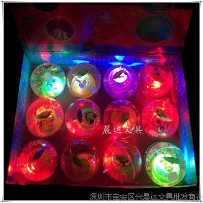 创意夜光闪光水晶球儿童带绳印花弹力球夜市地摊热卖发光玩具批发