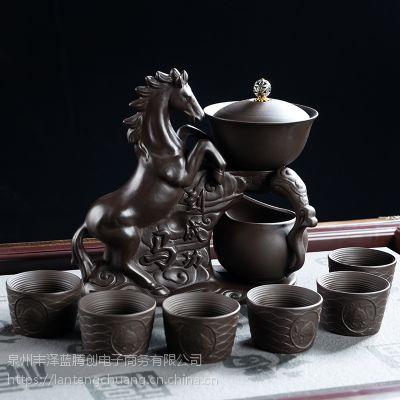 高档紫砂自动茶具套装礼品家用懒人冲茶器马到成功简约客厅茶壶