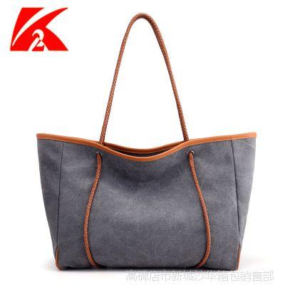 批发外贸帆布包女包单肩包韩版时尚文艺简约百搭手提大包购物袋