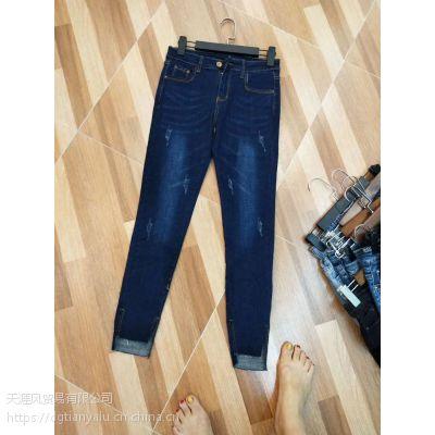 秋季上新牛仔裤批发地摊便宜女装长裤内蒙呼和浩特哪里厂家爆款牛仔裤批发
