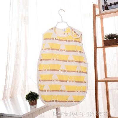 新款六层纯棉纱布 婴儿背心式睡袋 宝宝防踢被护肚无袖睡袋M码