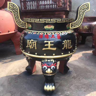 供应龙王庙圆形平口铸铁香炉 大型寺庙道观香炉厂家