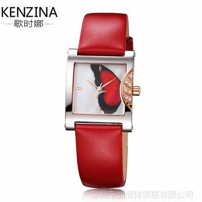 歌时娜女款手表时尚防水新款休闲韩版真皮方形手表女正品女士手表