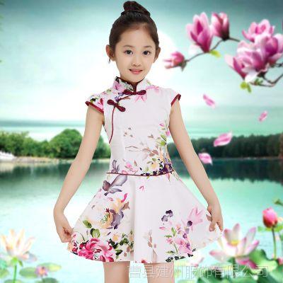 2017儿童旗袍新款套装夏装女童中国风唐装连衣裙厂家直销古筝比赛